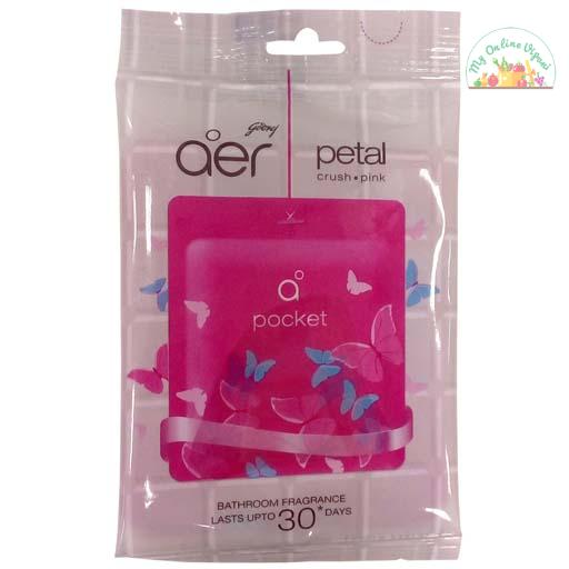 Godrej Aer Pocket Bathroom Air Fragrance – Petal Crush Pink 10g