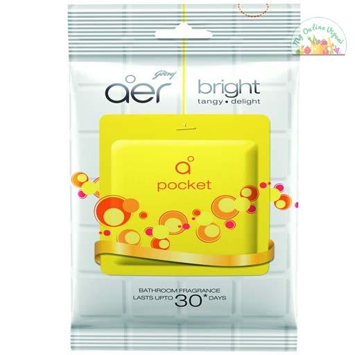 Godrej Aer Pocket Bathroom Fragrance – 10 G Bright Tangy Delight